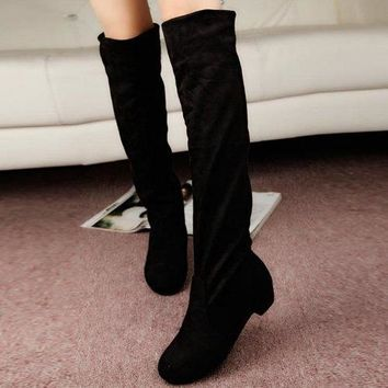 Suede Low Heel Thigh Boots - Black 39
