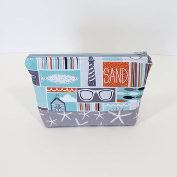 Zippered Pouch Makeup Bag Cosmetic Case Travel Bag with Grey and White Starfish and Coastal Sea Fabric