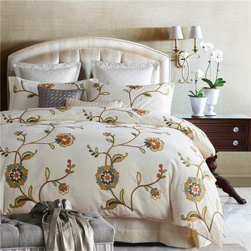 4/7Pcs Cream color Bedding Set Soft Egyptian cotton Bed Linen Duvet Cover Pillowcases Bed Sheet Sets Embroidery Queen Coverlets