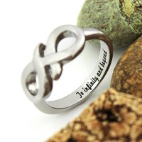 """Infinity Ring Promise Ring Couples Ring Infinity Symbol Ring""""To Infinity and Beyond"""" Engraved"""