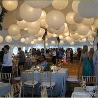 New (5pcs/Lot) 8''(20cm) Round Chinese Lantern White Paper Lanterns For Wedding Party Decorations