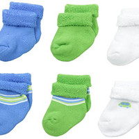 Gerber Baby-Boys Newborn 6 Pack Variety Socks Cars, Blue, 0-3 Months
