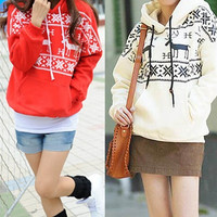 Fashion Winter Womens Deer Print Fleece Warm Hoodies Jacket Coat Sweatshirt Outerwear = 1931591044