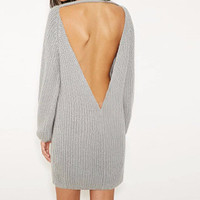 Fashion Spring Hollow Bandage Knit Sexy Package Hip One Piece Dress Sweatshirt a13280