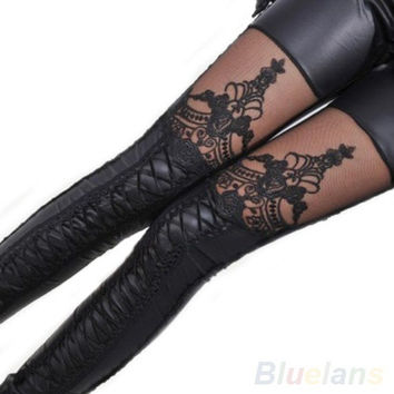 Fashion Women Lace-up Faux PU Leather Lace Leggings Tights Pants = 1932672324
