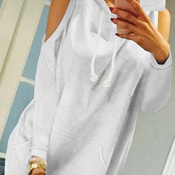 White Pockets Cut Out Hooded Fashion Pullover Sweatshirt