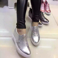 Summer Leather Pointed Toe Hollow Out Permeable Wedge Height Increase Casual Shoes [4919698884]