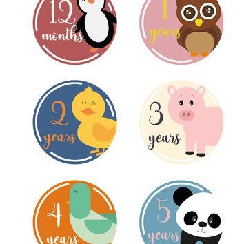 Novarena Little Jungle and Farm Animals Lover 50+ baby milestones stickers - First 5 Years