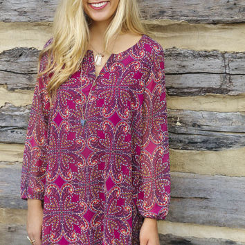Lost In Thought Orchid Floral Paisley Print Chiffon Dress