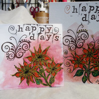 Brightly Colored, Handmade Greeting Card and Matching Envelope, Flowers, Floral, Blank Inside