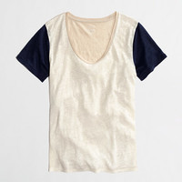FACTORY COLORBLOCK LINEN TEE