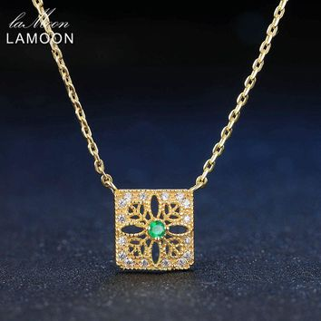 LAMOON 2mm 0.06ct 100% Natural Emerald 925 Sterling Silver Jewelry 14K Yellow Gold Plated Chain Pendant Necklace S925 LMNI018
