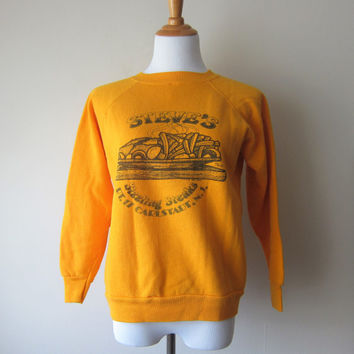 80s Steve's Sizzling Steaks -- Kitsch Cartoon Double Sided Sweatshirt, NJ New Jersey Pride, Golden Orange Tultex Sz Medium