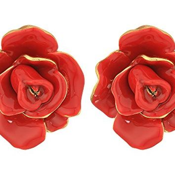 Oscar de la Renta Rosette Button C Earrings