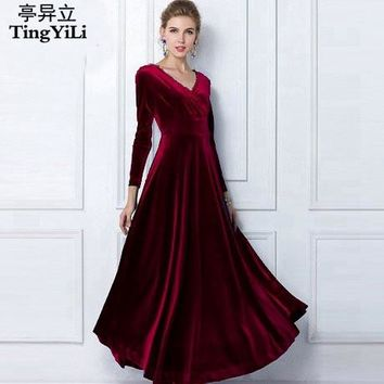 TingYiLi Winter Women Plus Size Velvet Dress Long Sleeve Maxi Dress Evening Party Vintage Dress Black Blue Green Purple Vestido