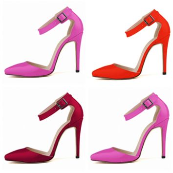 Fashion Bright Lacquer Leather Shallow Mouth Pointed Toe Sandals Women Heels Shoes