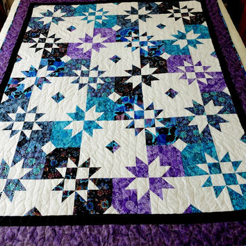 Homemade Star Patchwork lap quilt, quilted throw, lilac, turquoise, blue, purple