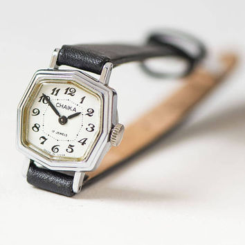 Vintage women's watch tiny - angular case wristwatch Seagull - watch for women silver shade - jewelry watch small women - new leather strap