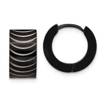 Sterling Silver Black-Plated Huggie Hoop Earrings (7mm Thick), 13mm