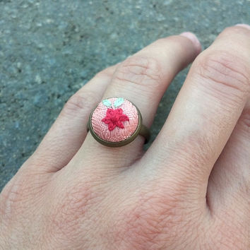Unique rings for women, Cute ring, Pink flower ring, Bronze ring, Boho ring, Bohemian jewelry