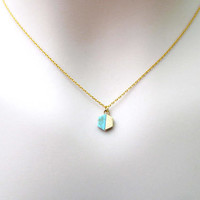 Turquoise, Hexagon, Gemstone, Gold, Necklace, Lovers, Friends, Mom, Sister, Christmas, New year, Gift
