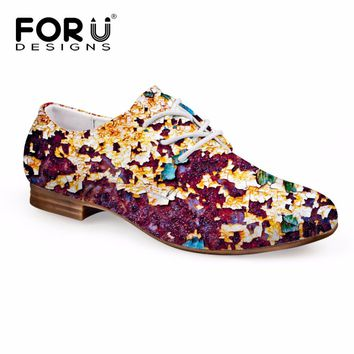 FORUDESIGNS Retro Women Casual Flats Shoes Fashion Lace-up Leather Oxfords Shoes for Women Breathable Female Business Shoes