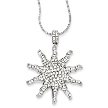 Sterling Silver & CZ Sun Necklace QMP460