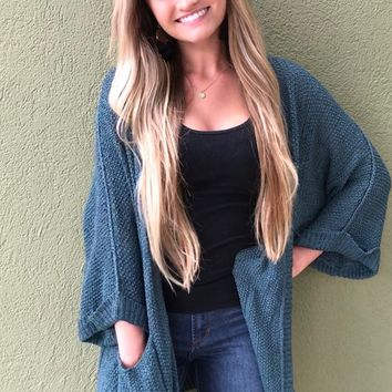 Cuddle Me Up Cardigan- Green