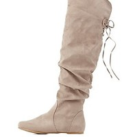 BAMBOO SLOUCHY FOLD-OVER LACE-UP BOOTS