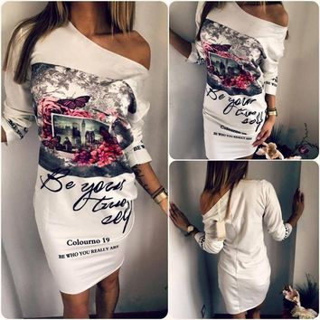 Women's Fashion Floral Printeed Plus Size Party Dresses