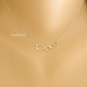 Two infinity Necklace, Infinity Jewelry, Couple Necklace, Mother Daughter necklace, Infinity links Charm, His Her Jewelry, Christmas Gift