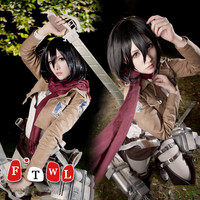 Attack on Titan Cosplay Shingeki no Kyojin Mikasa Ackerman Cosplay Costume Halloween Costumes for Women Full Set