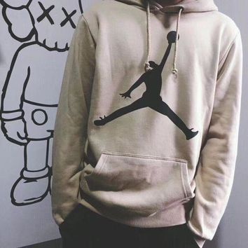 Air Jordan Fashion Women Men Classic Simple Print Hoodie Cotton Sweater Lovers Sweatshirt Pullover Tops I