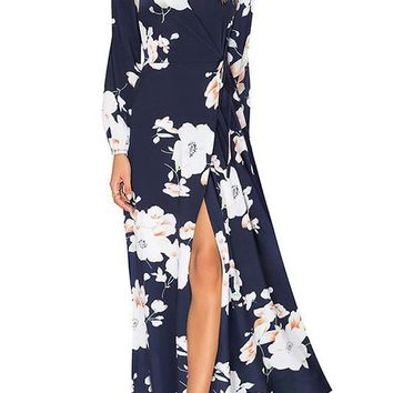 A| Chicloth Surplice Neck Maxi Dress A-line Date Printed Floral Dress