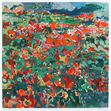 Poppy Field by Abraham Binder, Wall Art Size: 31.5H x 31.5W