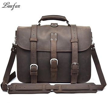 Men thick crazy horse leather Laptop rucksack Large capacity genuine leather PC work bag weekend bag shoulder bag