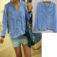 Hot Women's Casual Button Down Shirt Long Sleeve Collarless Blouse Tops 4 Colors