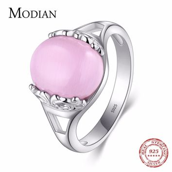 Modian 2018 New Real 925 Sterling Silver Pink Opal Ring Classic luxury Wedding Finger Jewelry For Oval Female Engagement Gift