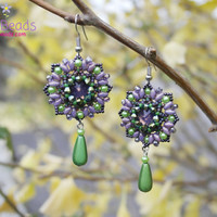 Flower Linked Earrings, Long Dangle Earrings, Beaded Earrings, Green Purple Jewelry, Wedding Earrings, Drop Earrings, Crystals, Not Heavy