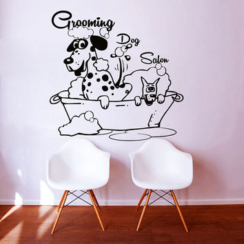Wall Decals  Dog Grooming Salon Decal Vinyl Sticker  Pet Shop Scissors  Home Decor Interior Design Art Mural MN480