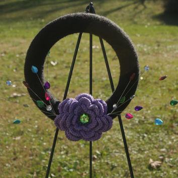 Yarn Wrapped or Crocheted Wreath with Crochet and/or Felt Flowers