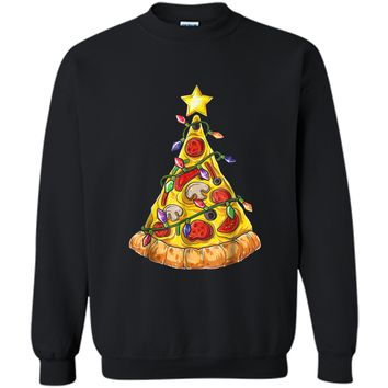 Christmas  for Men Boys Pizza Xmas Tree Crustmas Gifts Printed Crewneck Pullover Sweatshirt