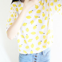 "White""Lemon"" Print Short Sleeve Shirt"