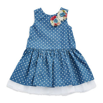Pippa & Julie Girls 2-6x Polka Dot Fit and Flare Dress