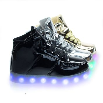 Signal80K Black by Forever Link, Children Girl High Top Metallic EDM Sneakers w Multi Colored LED Light
