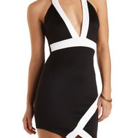 Asymmetrical Plunging Halter Dress by Charlotte Russe