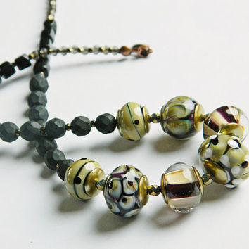 Black Beige Lampwork necklace, Glass bead Statement necklace, Dramatic Bib necklace with Onyx, Black Beige Womens necklace, OOAK,