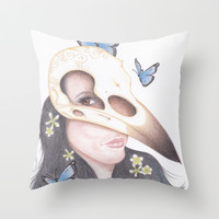 Crow Throw Pillow by Drawings by LAM