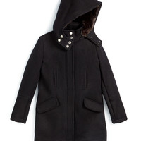 Hooded Wool Parka, Black, Size S-XL, Size: