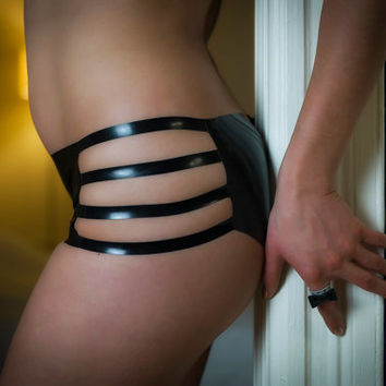 Cage High Waist Black Latex Panty